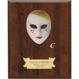 Maschera+legno cm 20x15